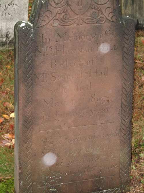 Gravestone of Hannah Hall